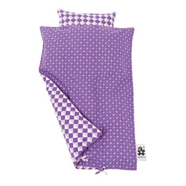 Sebra sengetøj grafisk lilla