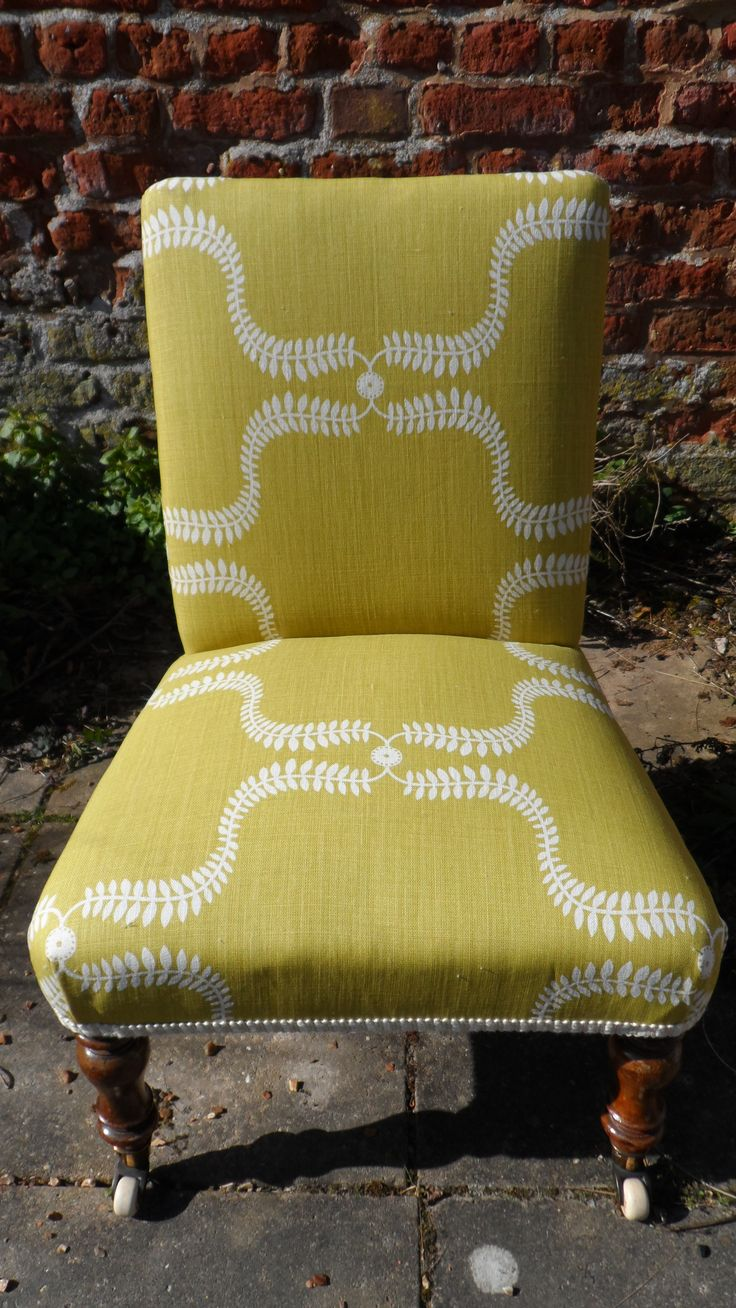 Victorian nursing chair reupholstered in up the garden path- lime. www.at-the-cartshed.co.uk