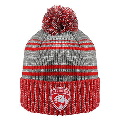 NHL Florida Panthers Men's Merlin Cuffed Knit Hat with Pom, One Size, Red/Charcoal