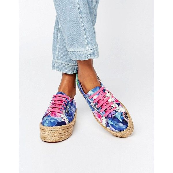 Superga 2790 Espadrille Flatform Trainer ($54) ❤ liked on Polyvore featuring shoes, sneakers, multi, espadrilles sneakers, woven shoes, laced up shoes, print sneakers and lace up shoes