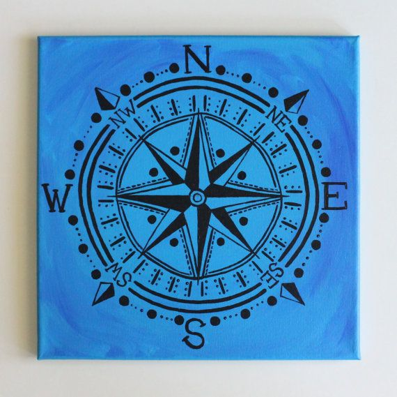compass rose black compass bohemian art nautical art travel wanderlust beach decor hipster art acrylic painting 12x12 canvas