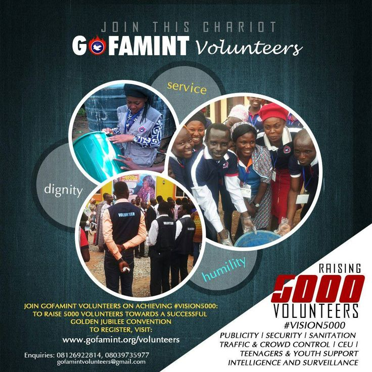 GOFAMINT Volunteers: Towards raising 5000 volunteers for service during the Golden Jubilee edition of the GOFAMINT Annual Convention. Design: markVisuals