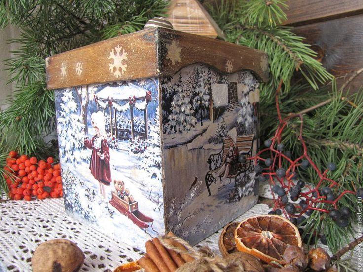 """Купить Короб подарочный """"Накануне Рождества - бежевый, короб, короб для хранения, короб для подарка"""