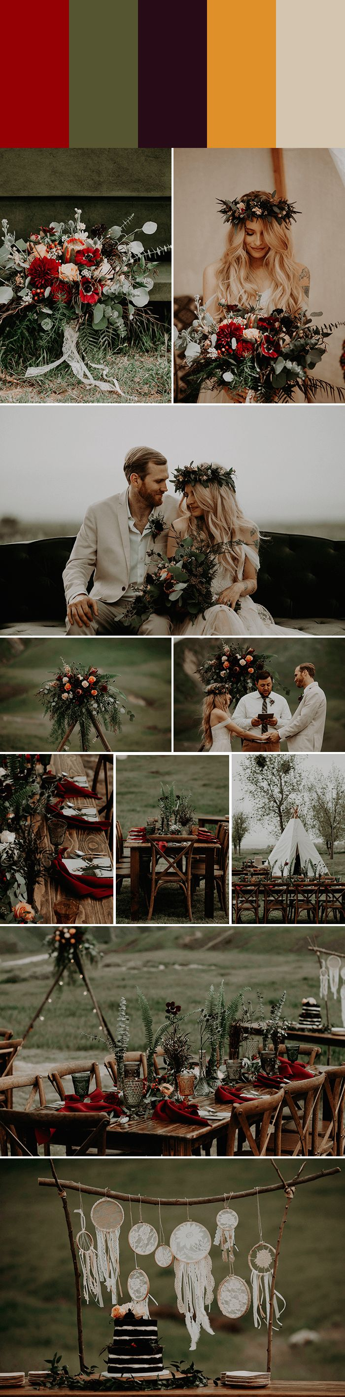 Ruby Red + Eucaplyptus + Aubergine + Marigold + Sand really speaks fall | Images by Rubi Z Photography