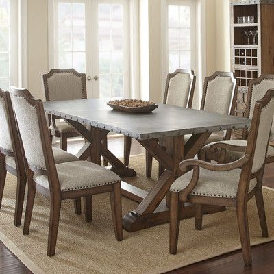Wayland Dining Table   A Charming Lodge Style Reproduction, This Steve  Silver Co. Wayland Dining Table Has Plenty Of Room For Any Feast. The  Brushed Zinc ...