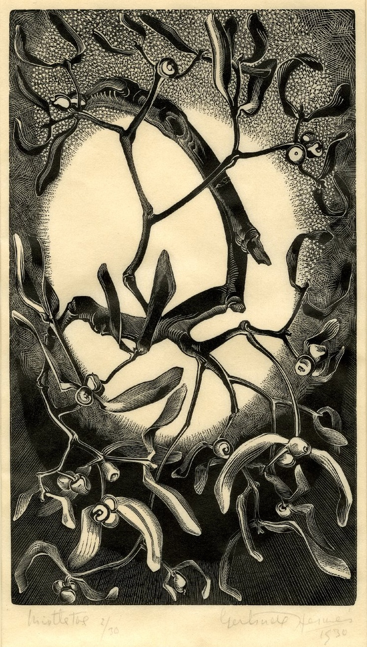 15 Dec: This print of some mistletoe by Gertrude Hermes is made on handmade Japanese paper