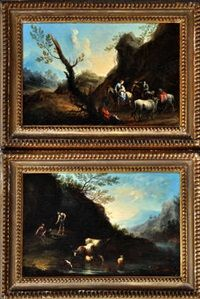 TRAVELLERS IN AN ITALIANATE LANDSCAPE AND TWO MEN WITH CATTLE AND SHEEP AT A RIVERBANK by Francesco Zuccarelli