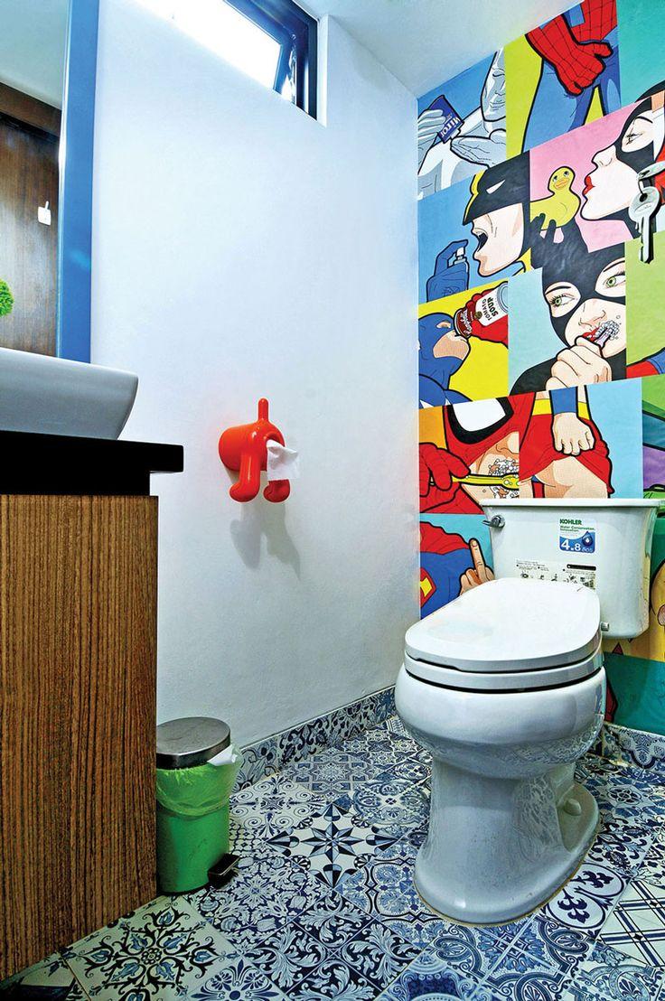 Modern Pop Art Powder Room designed by VindoDesign.com
