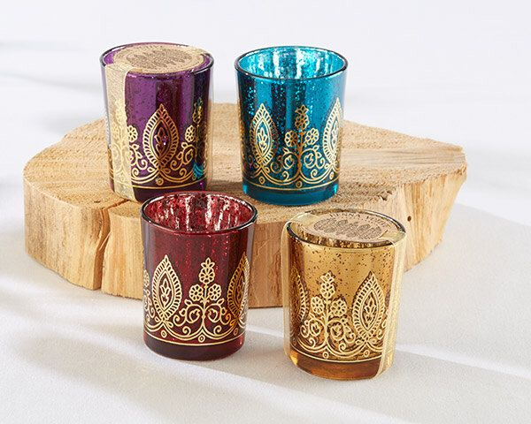 Indian Jewel Henna Votives Assorted Set of 4 Candle Holder Tea Lights Candle Teal Purple Gold Paisley Moroccan Indian Wedding Centerpieces by TaaraBazaar on Etsy https://www.etsy.com/listing/247385278/indian-jewel-henna-votives-assorted-set