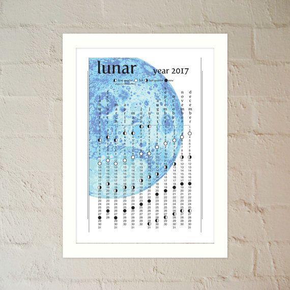 2017 Blue Moon Lunar Calendar  Printable PDF by paper4download