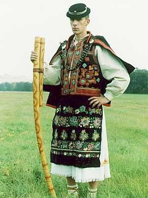 Slovakian folk  Traditional shepherds costume with fujiara.