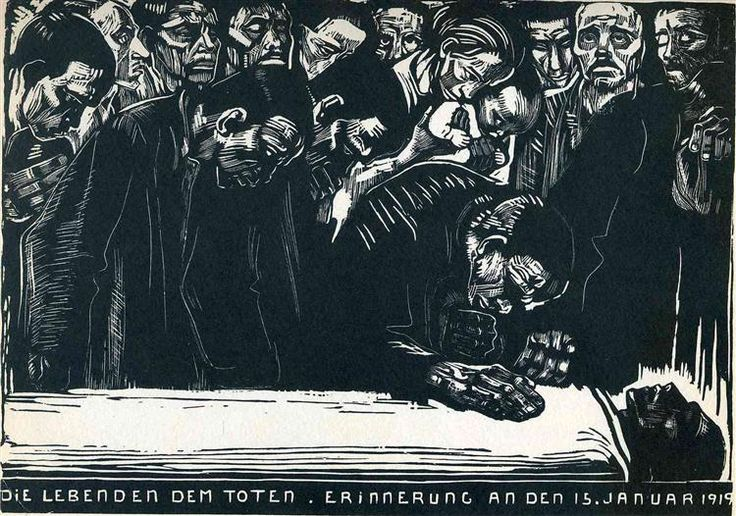 Memorial for Karl Liebknecht, 1919 by Kathe Kollwitz. Expressionism. genre painting