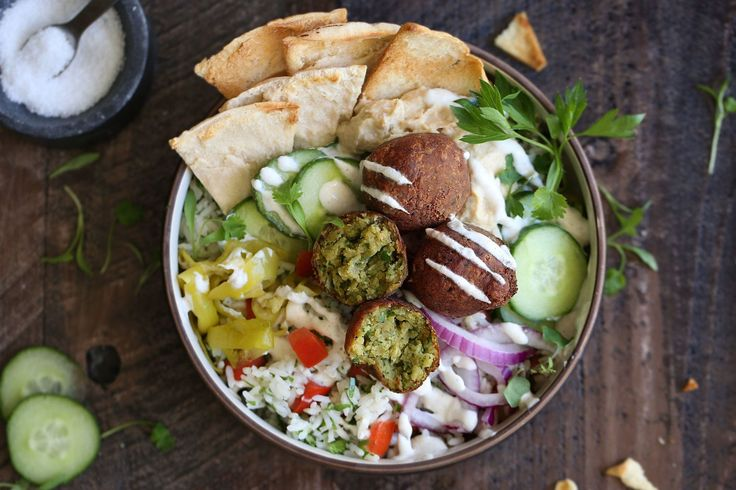 """Mediterranean Falafel Bowl with """"Tabbouleh"""" Rice"""