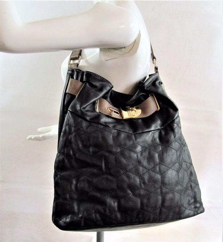 Marks & Spencer black taupe leather look shoulder bag handbag purse R15561 #style #fashion #love #woman #chic #eBay #handbag #sangriasuzie