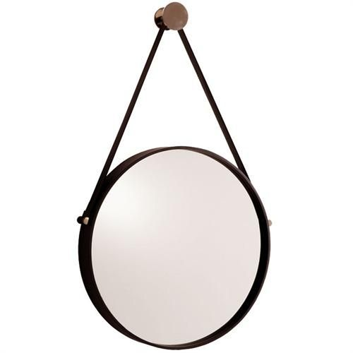 The expedition mirror is one of our favorites for a bathroom, hallway or above a chest of drawers.  Black painted iron with polished nickel accents. Also available in antique brass hanger with antiqued mirror.