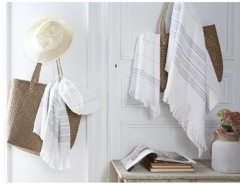 Linge de bain - #gris -#hammam Serviette jacquard - Blanc Cerise