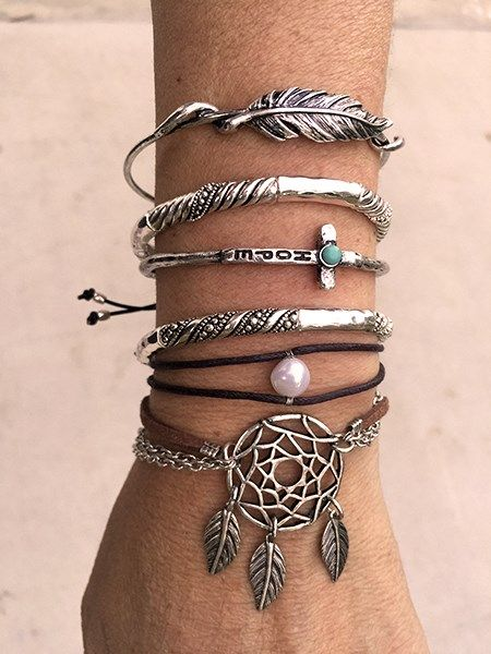 Arm Party, dream Catcher bracelet, Boho jewelry, Turquoise Cuff, Cowgirl style, Silver Tone, Filigree Bangle, Tribal Cuff, Cross cuff bracelet, God Is Love! Stacking Bracelets - Many Styles | Jane #pennyLuna, PennyLuna.com