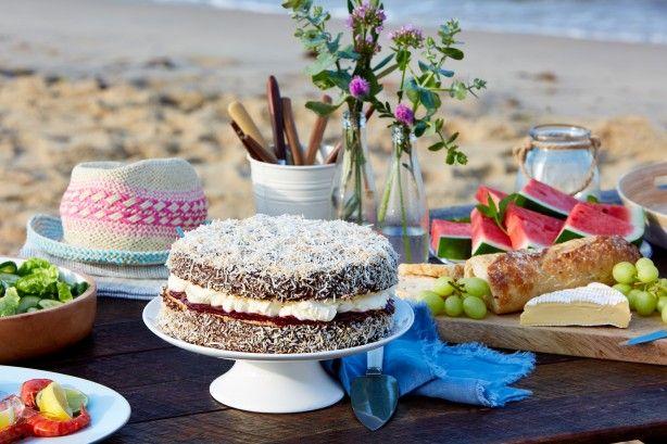 Lamington cake with raspberry jam and cream