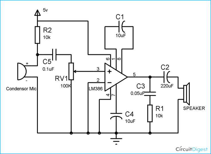 component  lm386 audio amplifier circuit diagram simple