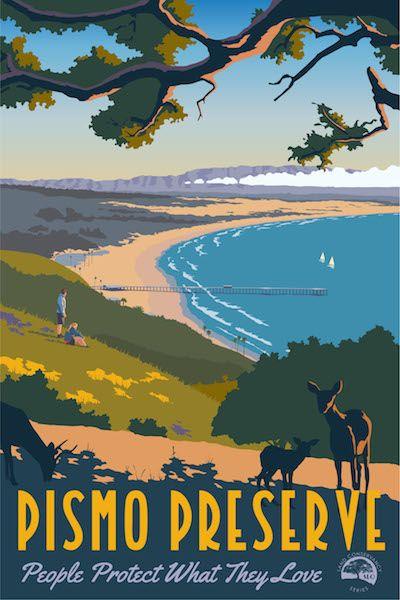 Steve Thomas Art Deco Travel Poster Pismo Preserve San Luis Obispo Land Conservancy http://justlookinggallery.com/artists/thomas/index.php
