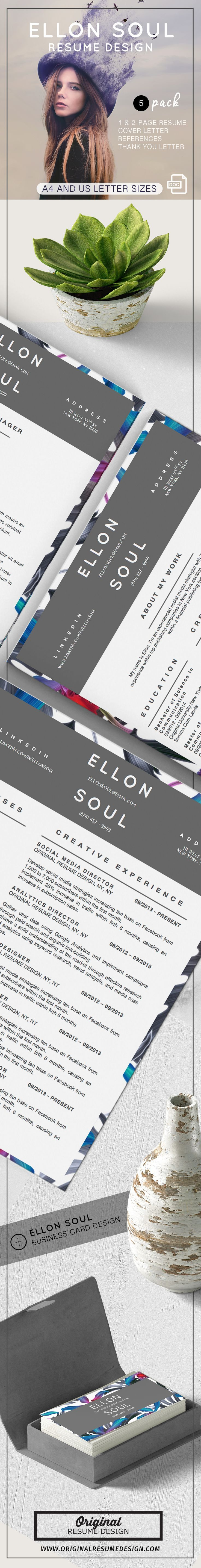 impressive objective for resume%0A Beautiful and modern resume design  Ellon Soul features   templates for  Microsoft Word