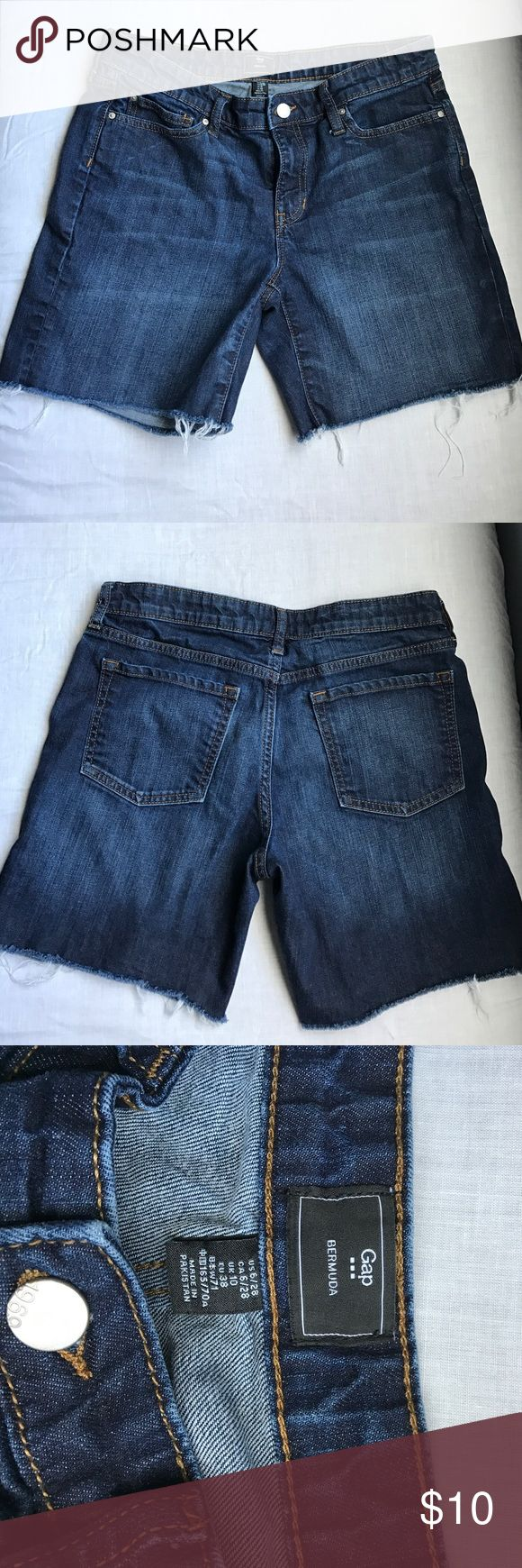 Gap Bermuda denim shorts Dark wash Gap Bermuda style denim cut off shorts. Excellent condition no rips or stains. Fraying at bottom is natural to the design. GAP Shorts