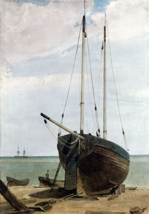"""""""Deal Lugger and Boats"""", by F.L.T. Francia"""