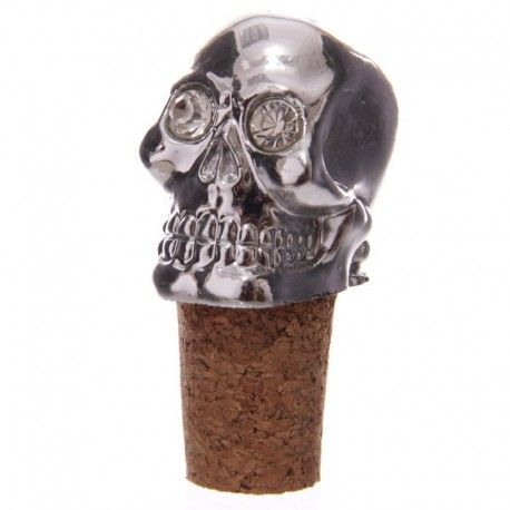 Bouchon de bouteille - Crâne argenté