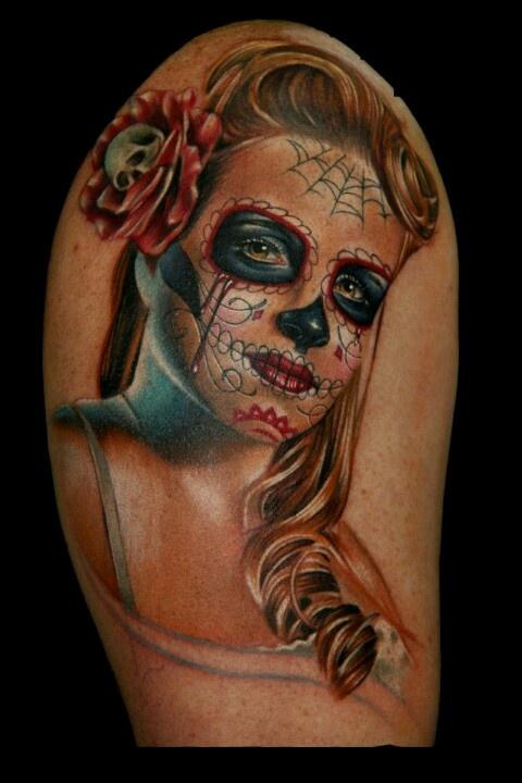Black Sugar Skull Tattoo Designs
