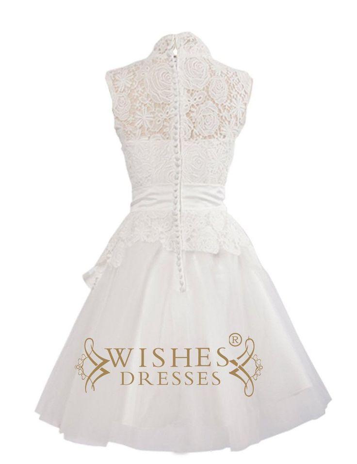 Demure Short Wedding Dress/ Lace Reception Dress/ High Neckline Cocktail Dress AM76