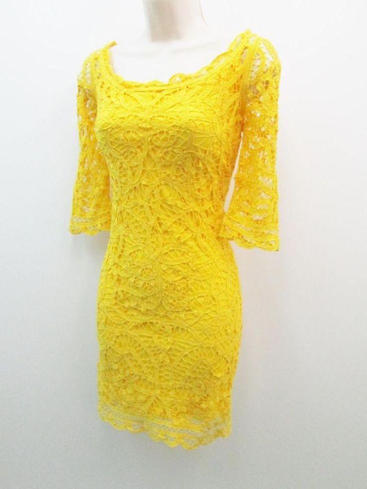 Antonio Melani Colette Yellow Crochet Cotton Lace Cocktail ...