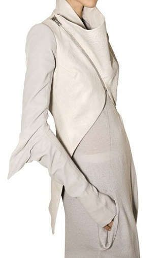 ✤Rick Owens Elbow Wing Cropped Front Leather Jacket Fall 2009