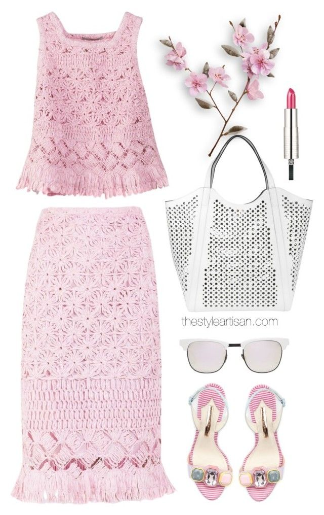 """""""Ermanno Scervino Pink Sleeveless Top"""" by thestyleartisan ❤ liked on Polyvore featuring Ermanno Scervino, Coccinelle, Givenchy, Sophia Webster and Westward Leaning"""