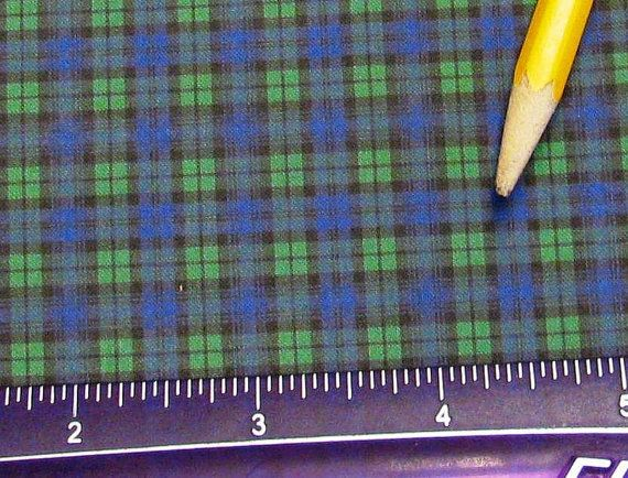 Dollhouse Miniature Victorian UPHOLSTERY FABRIC Black Watch Blue Green Plaid