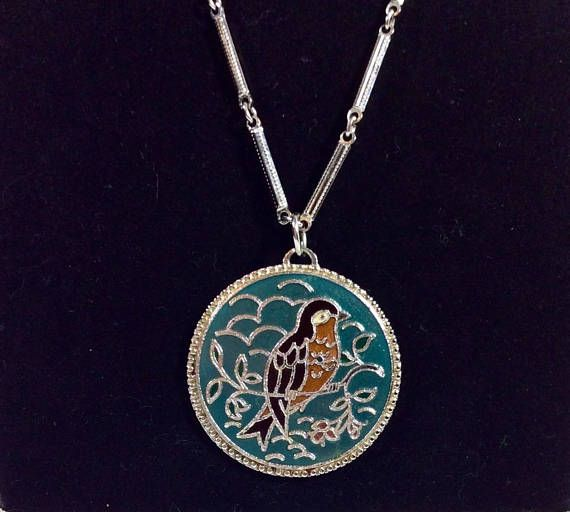 Vintage Signed Sarah Coventry Teal Bird Pendant Necklace on Long Silver Chain. $18.50 by MysticPincushion on Etsy.