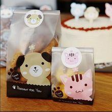 100 pz cucciolo o un gattino pressent diy cookie sacchetto sacchetti di caramelle baby shower favore baby shower festa di compleanno souvenir decorazioni bambini(China (Mainland))