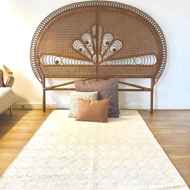 tete de lit vintage en rotin style