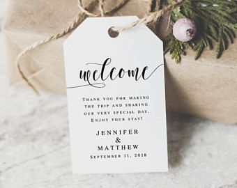 Welcome tags for wedding guests Wedding tag template Wedding favor tags template Wedding tags download Wedding tag for welcome bags #vm31