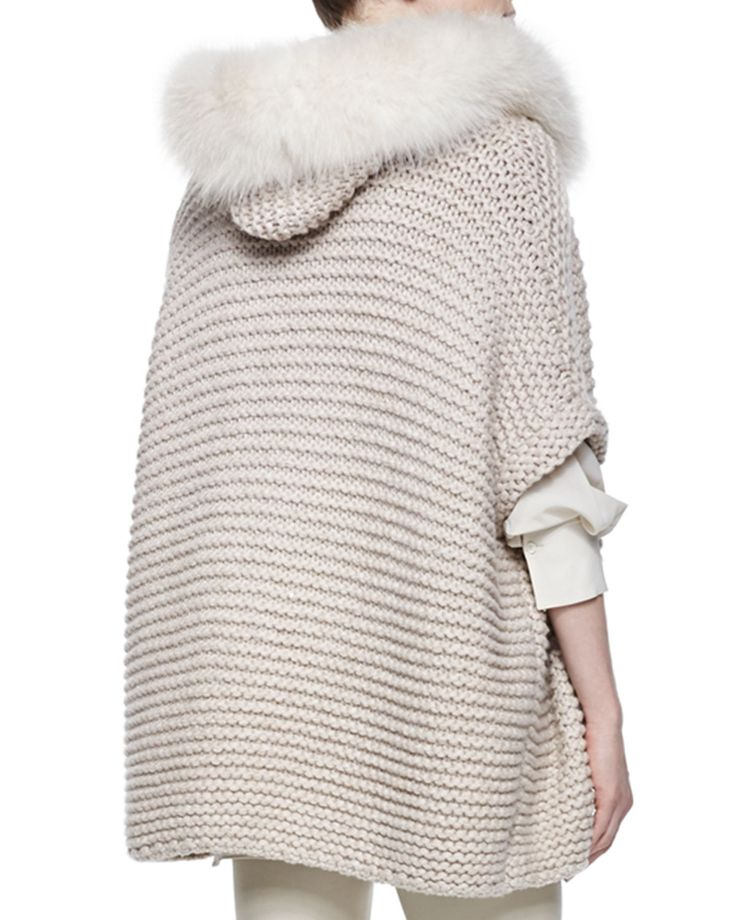Brunello Cucinelli Fox Fur Trimmed Hooded Cashmere Poncho, Ribbed Layered…
