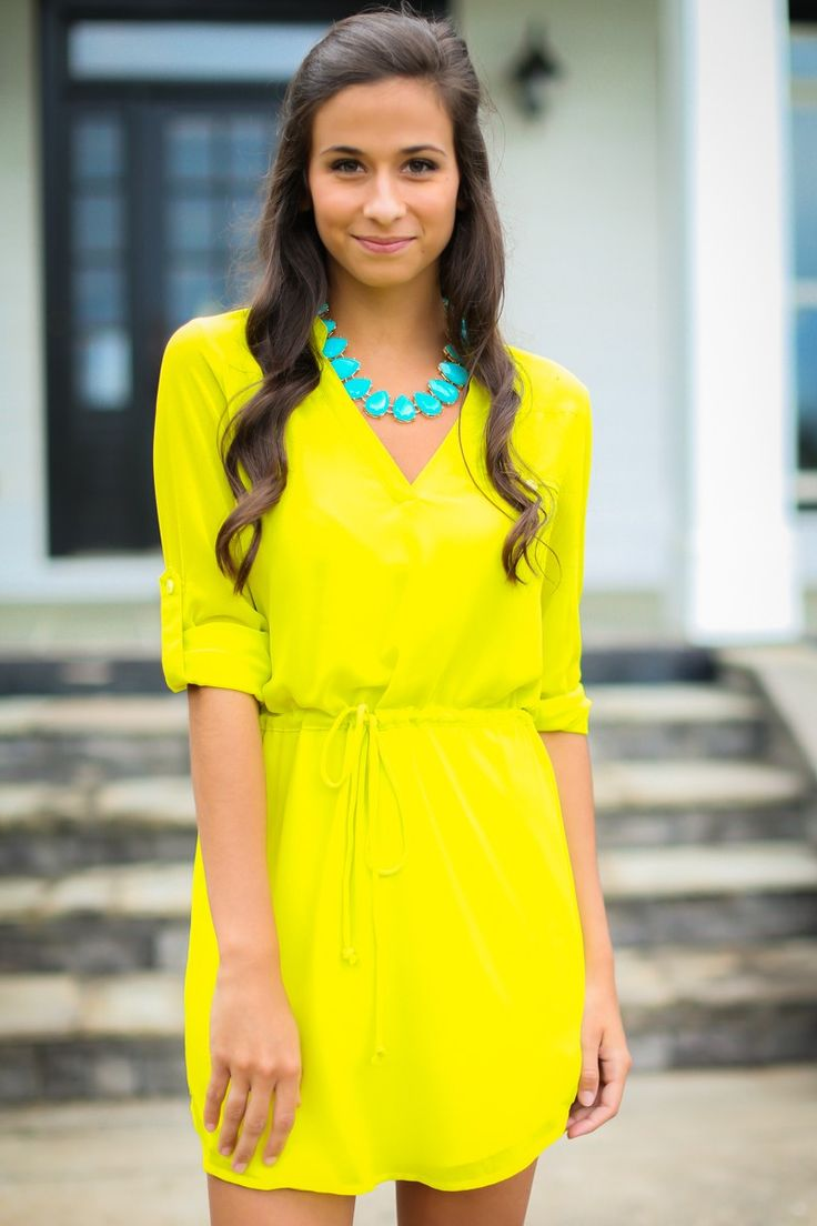 The Reese Yellow Shirt Dress at reddressboutique.com
