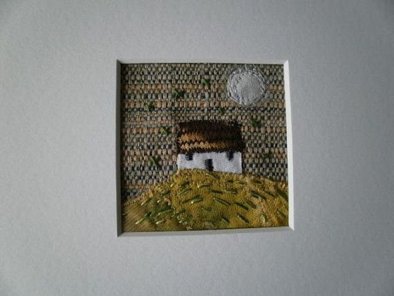 Wee Cottage Textile Art. Silver Moon