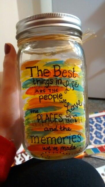 Made this for a New Years gift! It's a memory jar. We will put all our 2015 memories on little slips of paper, and on new years 2016 we'll read all the great things that happened this year!