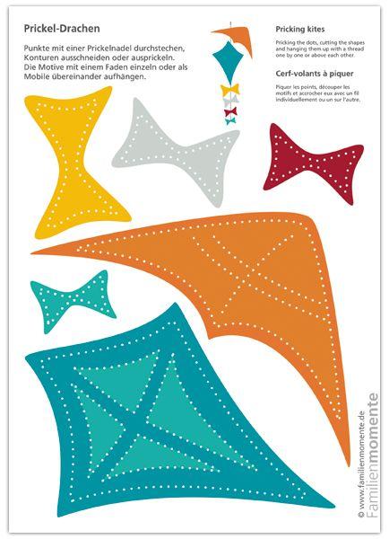 Bastelbogen Prickel-Drachen - ergibt ein schönes Mobile für die Herbst-Deko