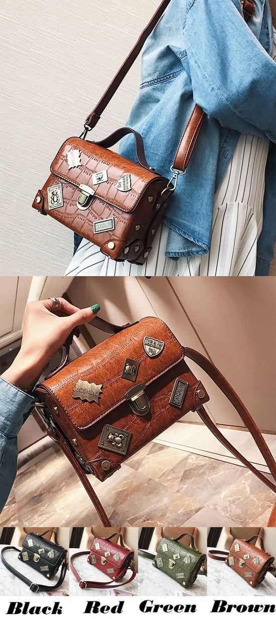 Leisure Grain Metal Badges Flap Women Handbag PU Small Suitcase Crocodile Shoulder Bag for big sale! #bag #shoulder #handbag #pu #suitcase #women