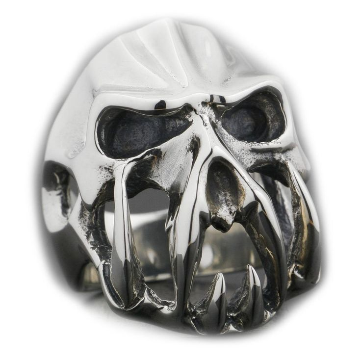 925 Sterling Silver Devil Alien Skull Tiger Tooth Mens Biker Ring 8V004 US Size 7 to 14 (13). 925 Sterling Silver Ring. Biker Ring. Mens Ring. Punk Ring. Devil Alien Skull Tiger Tooth Ring.