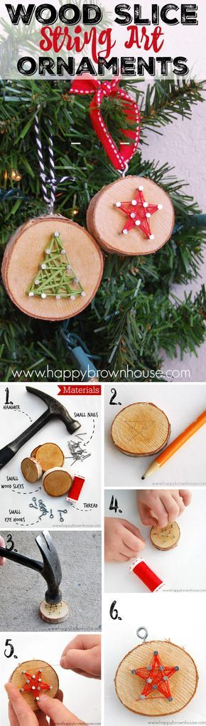 Wood Slice String Art Ornaments
