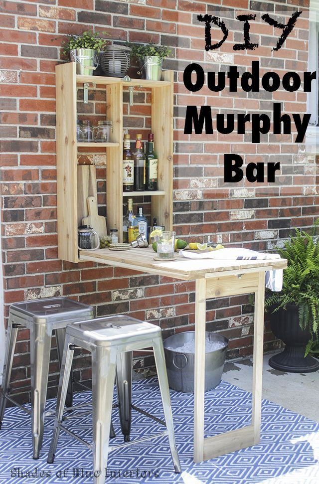 Pictures of completed outdoor murphy bar made from cedar and link to tutorial on eHow.