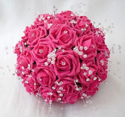 Wedding flowers - brides posy bouquet in hot pink roses ...
