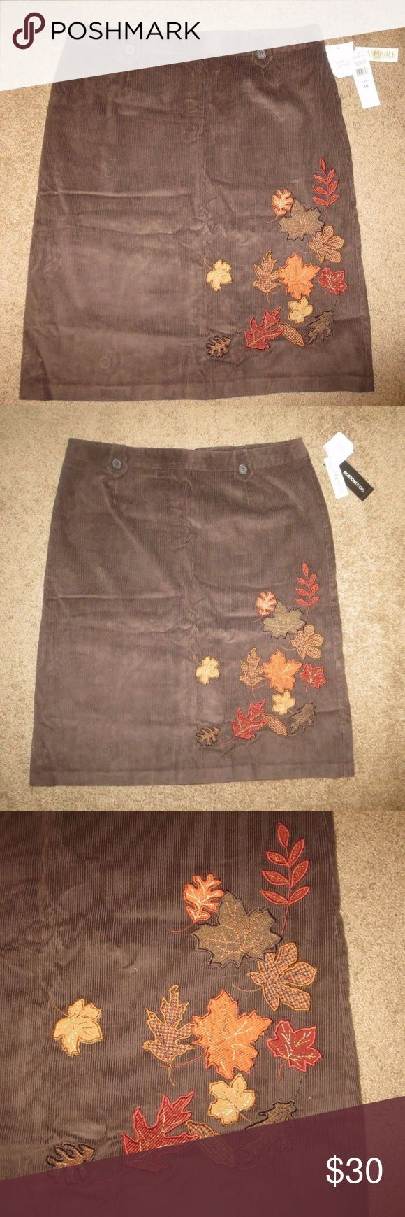 "Norton Studio Woman Plus Size Brown Skirt - 18 Norton Studio Woman Plus Size Skirt - Brown corduroy appliqued with fall leaves on the front makes it a great skirt for fall!  Condition: Brand new with tags Size: 18 Material; 100% cotton Measurements: Approximately 38"" Waist x 27"" Length Slit: Small 7"" slit in the back Zipper with hook closure in the back No pockets Belt loops have decorative button detail  From a smoke and pet free home! Norton Studio Woman Skirts"