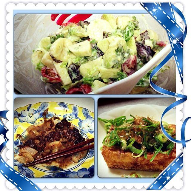 今日のメインはフレンチヨーグルトドレッシング Salad  -------> avocado , banana , apple , tomato & lettuce  & 鳥レバー、玉ねぎ、ウスターソースの Olive oil 炒め  & 挙げ豆腐 ^^; - 14件のもぐもぐ - Healthy Mai dinnerrr by OHaru